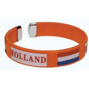 Oranje armband met tekst Holland en Nederlandse vlag