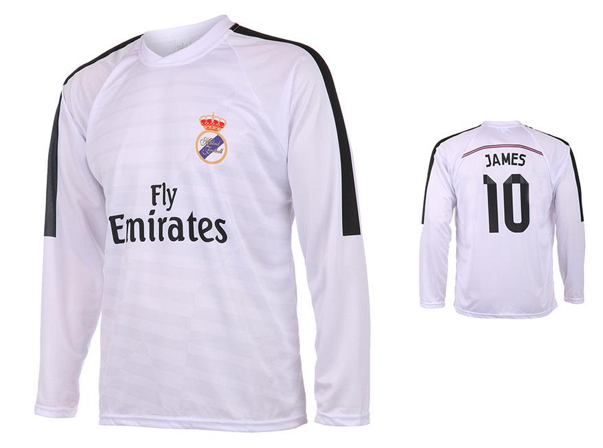 Real Madrid Voetbalshirt James Thuis 2014-2015 Lange Mouwen